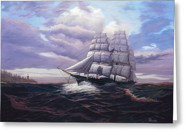 Tall Ships Greeting Cards - Coming Through The Storm Greeting Card by Del Malonee