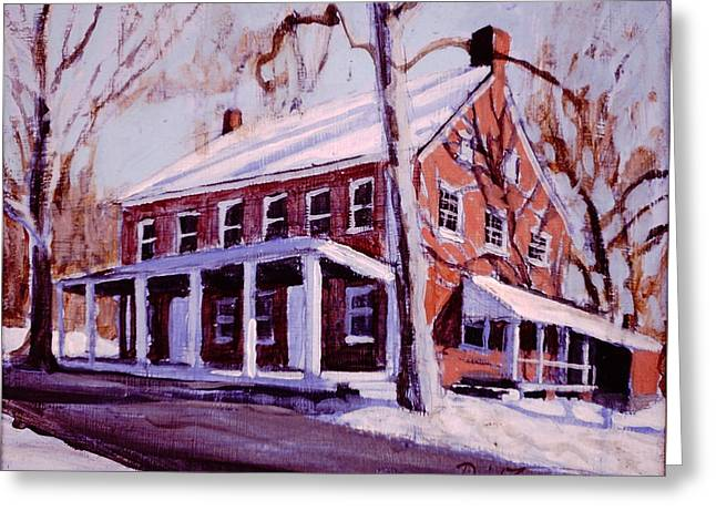 Quaker Paintings Greeting Cards - Coming to the Meeting Greeting Card by David Zimmerman