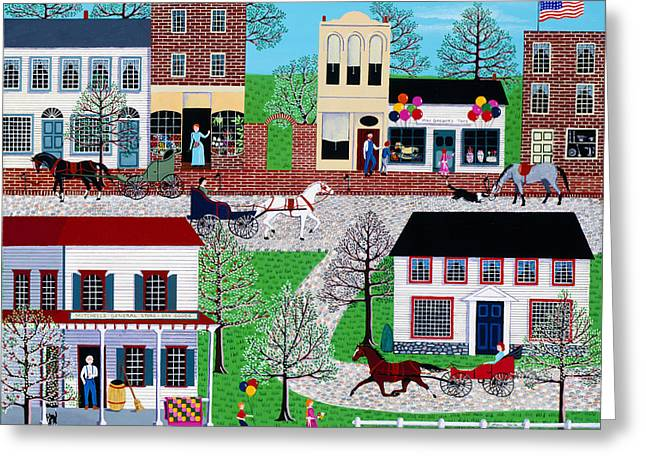Toy Shop Greeting Cards - Commerce Street Greeting Card by Susan Henke