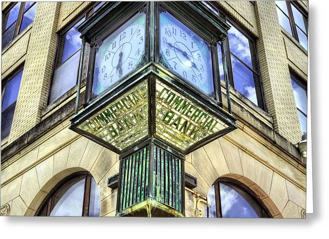 Town Square Greeting Cards - Commercial Bank Clock Greeting Card by JC Findley