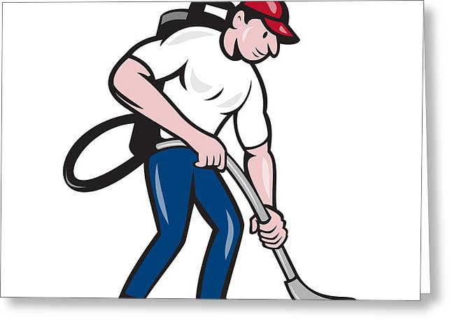 Man Looking Down Digital Greeting Cards - Commercial Cleaner Janitor Vacuum Cartoon Greeting Card by Aloysius Patrimonio