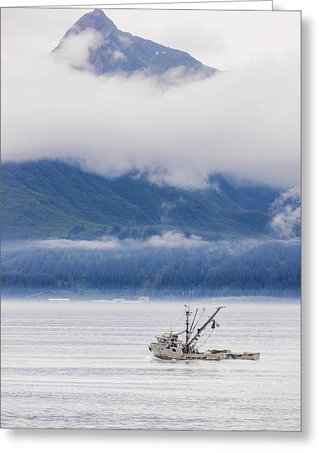 Boats In Harbor Greeting Cards - Commercial Fishing Boat Silver Salmon Greeting Card by Kevin Smith