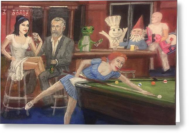Lounge Paintings Greeting Cards - Commercial St. Tavern Greeting Card by Larry E Lamb