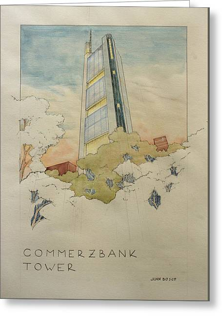 Normans Greeting Cards - Commerzbank frankfurt Greeting Card by Juan  Bosco