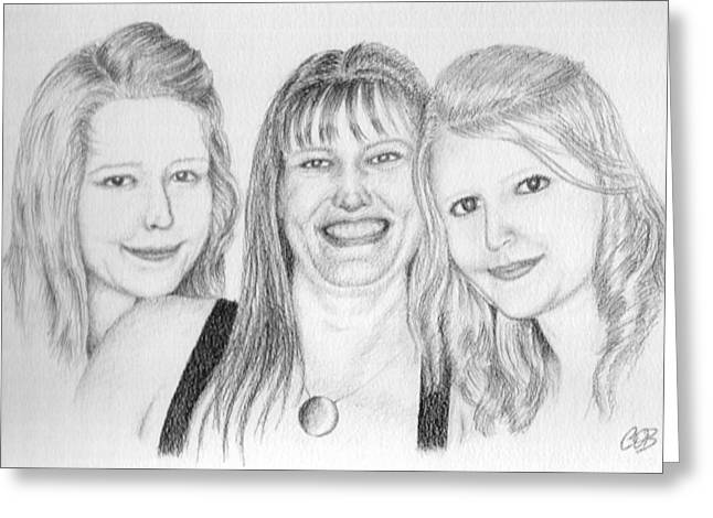 Cob Drawings Greeting Cards - Commission - Michelle and Her Daughters Greeting Card by Conor OBrien