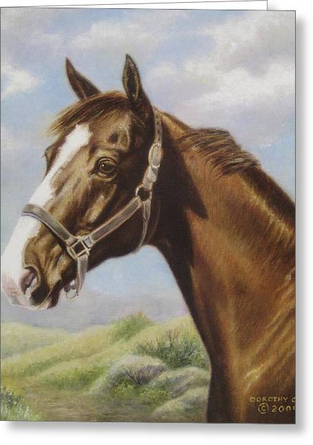 Dorothy Coatsworth Greeting Cards - Commission Chestnut Horse Greeting Card by Dorothy Coatsworth
