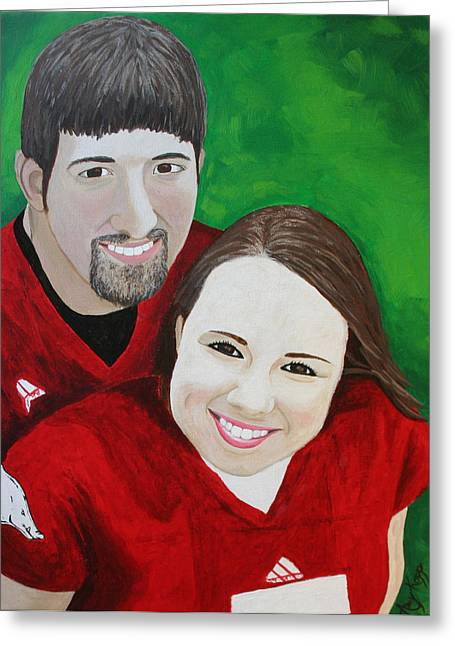 Commissioned Portrait - Brianna And Kevin Greeting Card by Amy Parker