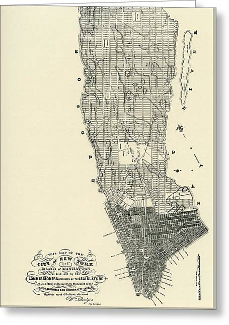 Commissioners' Map Of Manhattan, 1811 Greeting Card by American School