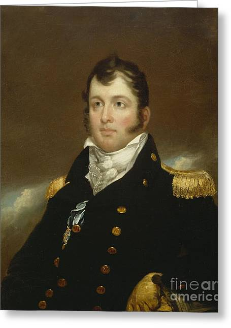 Buttons Greeting Cards - Commodore Oliver Hazard Perry Greeting Card by John Wesley Jarvis