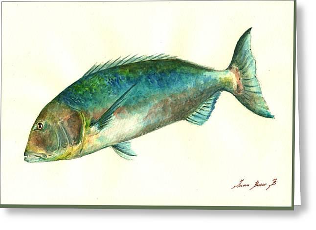 Common Dentex Fish Painting Greeting Card by Juan  Bosco