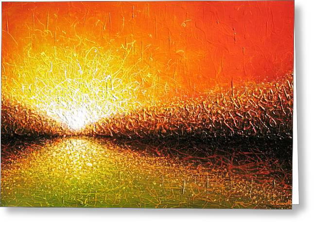 Sunset Abstract Greeting Cards - Common Thread Greeting Card by Jaison Cianelli