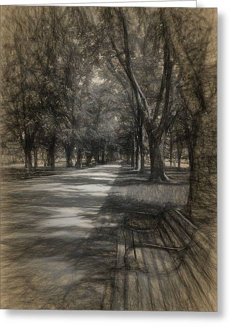 Park Benches Drawings Greeting Cards - Commonwealth Avenue Greeting Card by Thomas Logan