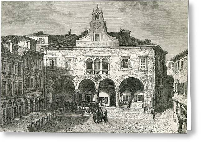 City Hall Drawings Greeting Cards - Communal Palace, Forum Square, Pula Greeting Card by Ken Welsh