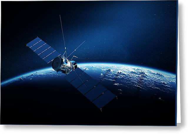 Orbit Greeting Cards - Communications satellite orbiting earth Greeting Card by Johan Swanepoel