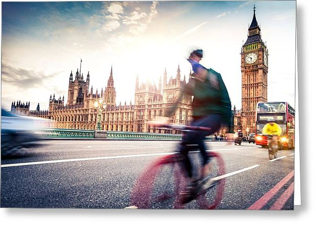 Double Bicycle Greeting Cards - Commuter back home on Westminster Bridge Greeting Card by Leonardo Patrizi