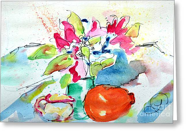 Vase Greeting Cards - Companions in Freshness Greeting Card by Lynda Cookson