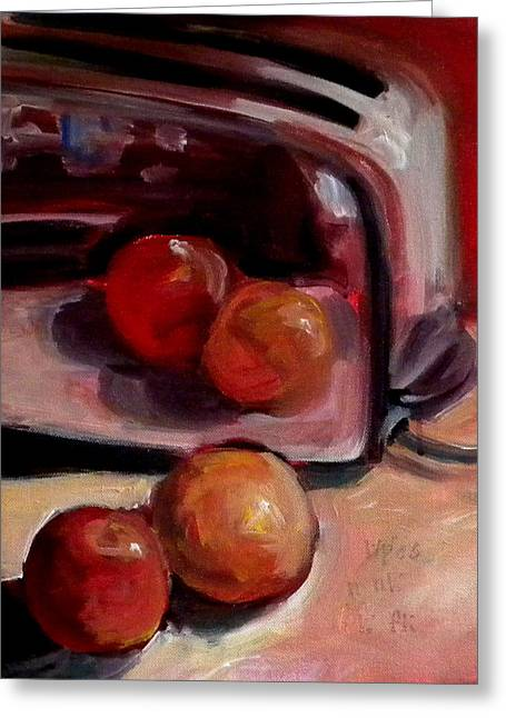 Toaster Paintings Greeting Cards - Comparing apples and Oranges 2 Greeting Card by Paula Strother