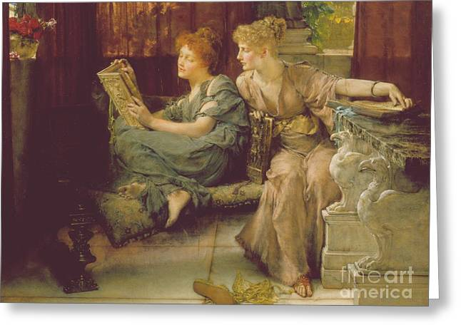 Female Paintings Greeting Cards - Comparison Greeting Card by Sir Lawrence Alma-Tadema