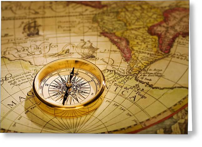 Assist Greeting Cards - Compass and Antique Map Greeting Card by Utah Images