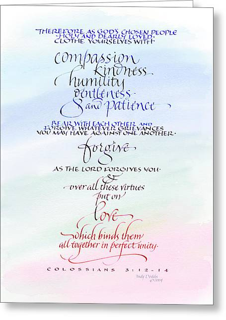 Compassion And Love Greeting Card by Judy Dodds
