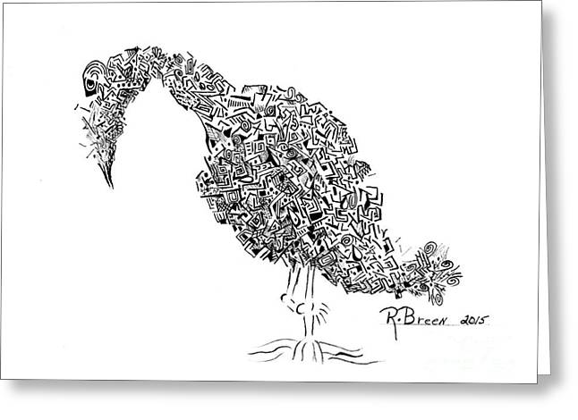 Component Drawings Greeting Cards - Component Bird Greeting Card by Ronda Breen