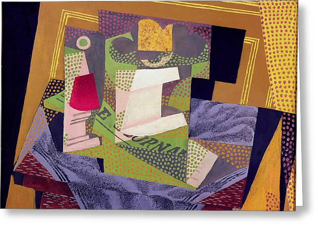Composition Greeting Cards - Composition on a Table Greeting Card by Juan Gris