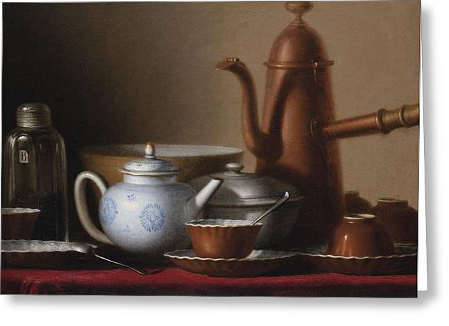 Composition With A Copper Pitcher And A Tea Set Greeting Card by Celestial Images