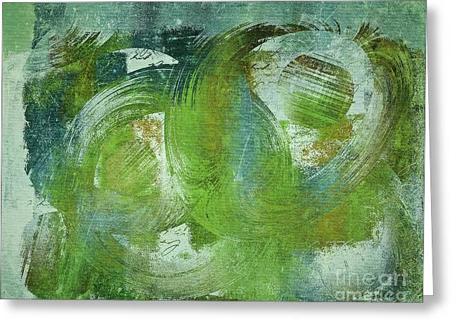 Green Abstract Greeting Cards - Composix - v55a - Green Greeting Card by Variance Collections