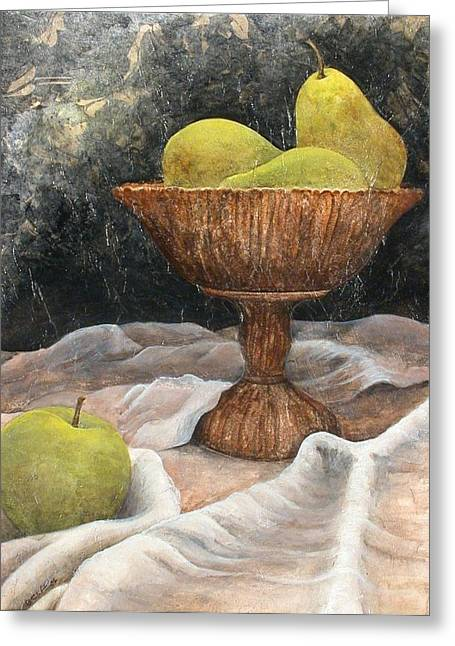 Compote Greeting Cards - Compote with Pears Greeting Card by Sandy Clift