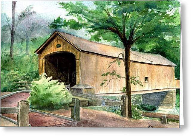 East Hampton Paintings Greeting Cards - Comstock Bridge Greeting Card by Katherine  Berlin