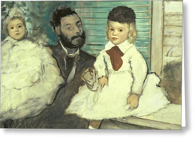 Kid Pastels Greeting Cards - Comte Le Pic and his Sons Greeting Card by Edgar Degas