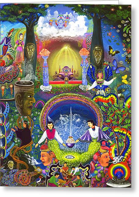 Visionary Art Greeting Cards - Concentracion Palistica Greeting Card by Pablo Amaringo