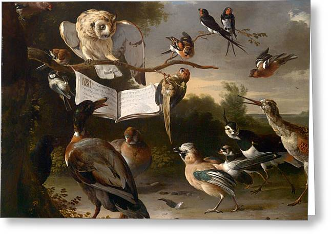 Lovely Owl Greeting Cards - Concert Of Birds Greeting Card by Melchior De Hondecoeter