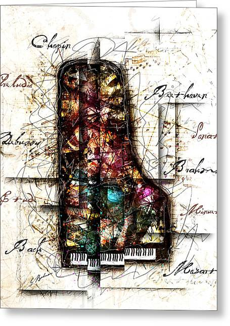 Piano Digital Art Greeting Cards - Concerto II Greeting Card by Gary Bodnar
