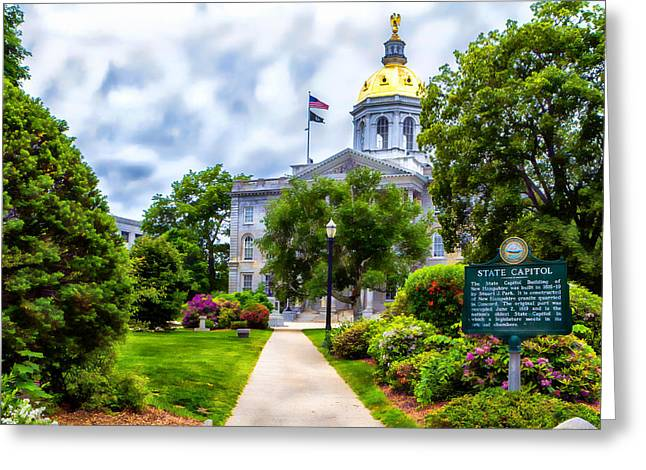 Concord Greeting Cards - Concord NH. State Capitol Greeting Card by Larry  Richardson