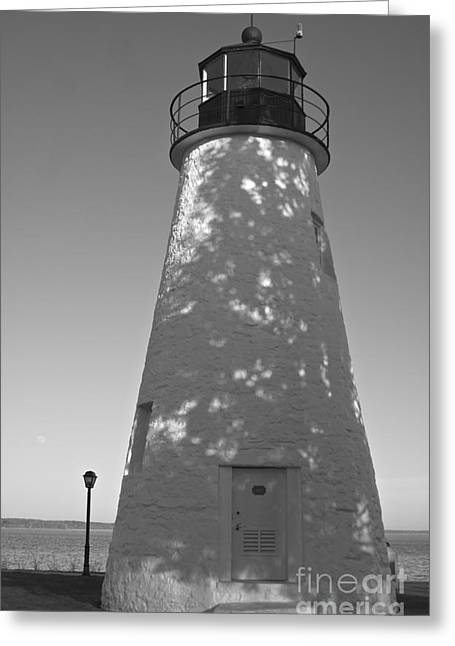 Concord Point Lighthouse Bw Greeting Card by Lori Amway
