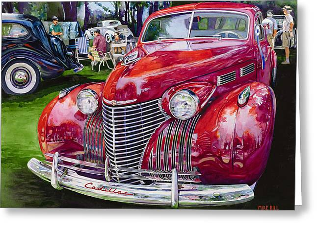 Forties Paintings Greeting Cards - Concours Cadillac Greeting Card by Mike Hill
