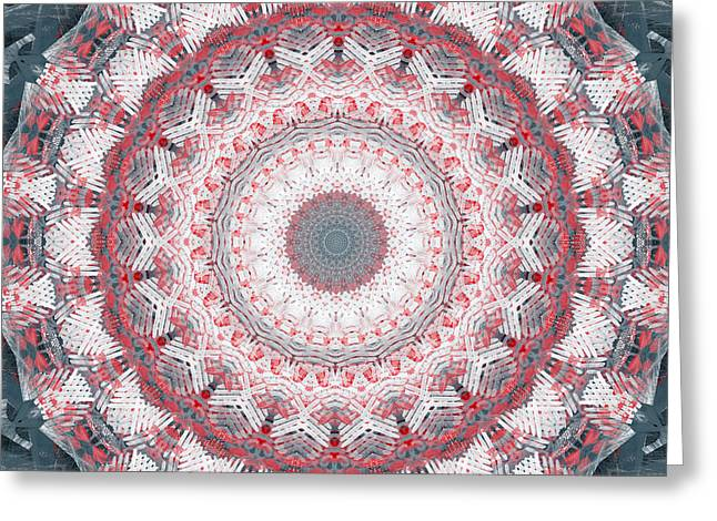 Smoke Mixed Media Greeting Cards - Concrete and Red Mandala- Abstract Art by Linda Woods Greeting Card by Linda Woods