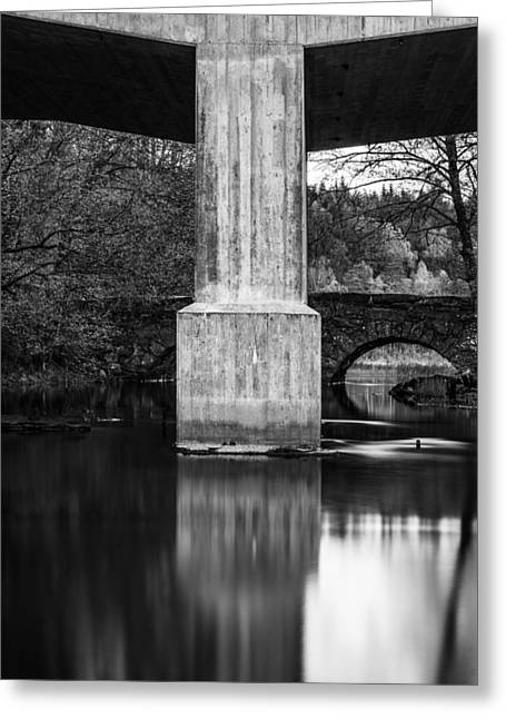 Kultur Greeting Cards - Concrete vs stone bridge Greeting Card by Toppart Sweden