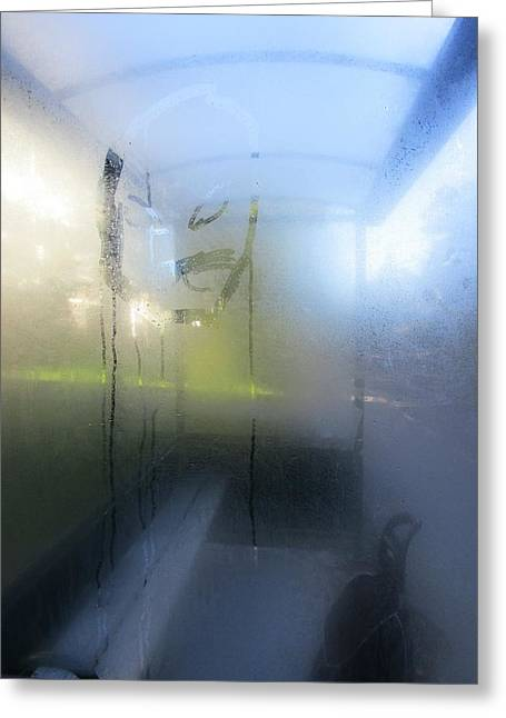 Busstop Greeting Cards - Condensation in blue Greeting Card by Rosita Larsson