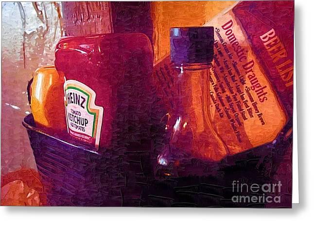 Ketchup Digital Greeting Cards - Condiments Greeting Card by Deborah MacQuarrie