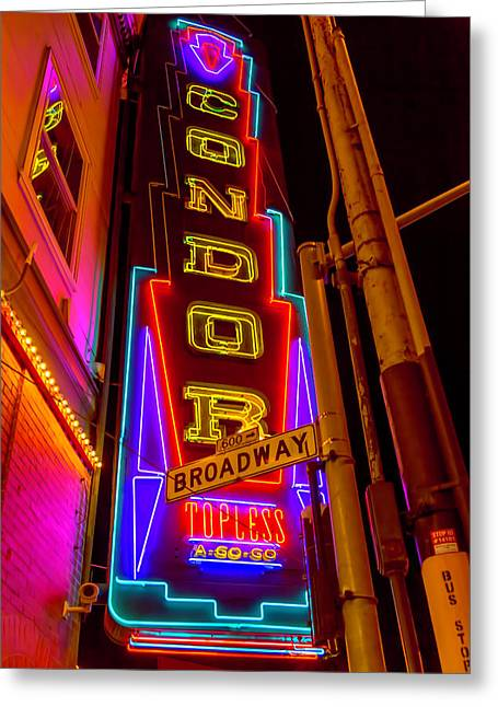 Condor Neon On Broadway Greeting Card by Garry Gay