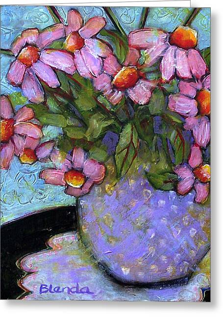 Coneflowers In Lavender Vase Greeting Card by Blenda Studio