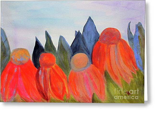 Abstracted Coneflowers Paintings Greeting Cards - Coneflowers Greeting Card by Sandy McIntire