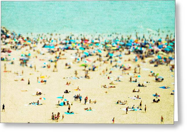 Recently Sold -  - Square Format Greeting Cards - Coney Island Beach Greeting Card by Mina Teslaru