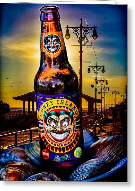 Streetlight Digital Art Greeting Cards - Coney Island Beer Greeting Card by Chris Lord