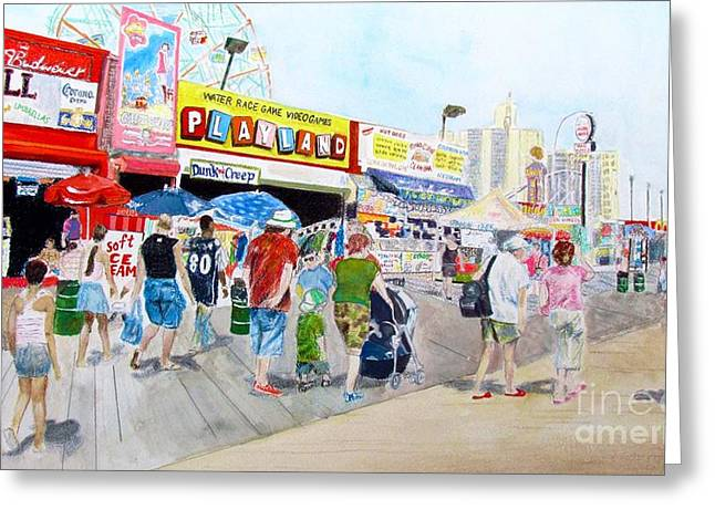 Amusements Drawings Greeting Cards - Coney Island Greeting Card by Beth Saffer