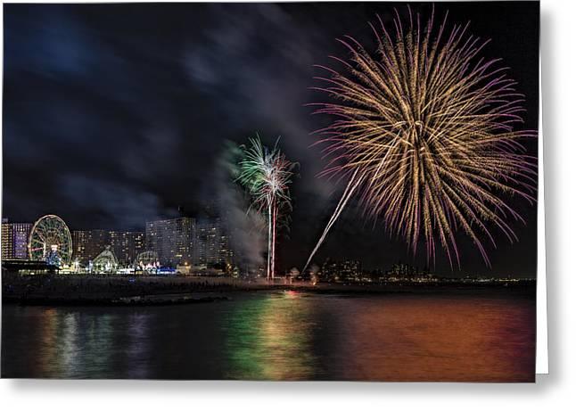 Amusements Greeting Cards - Coney Island Boardwalk Fireworks Greeting Card by Susan Candelario