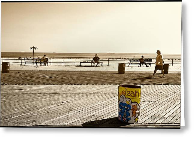 York Beach Greeting Cards - Coney Island Boardwalk Greeting Card by Madeline Ellis