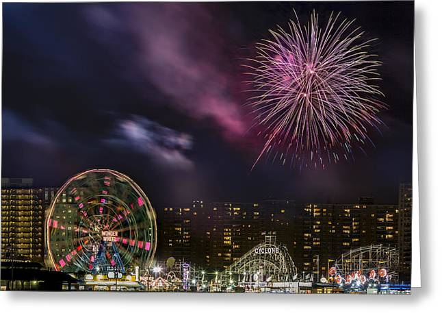 Pyrotechnics Greeting Cards - Coney Island Fireworks Greeting Card by Susan Candelario